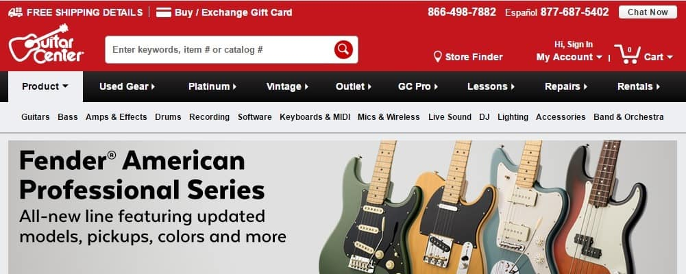 Guitar Center Website
