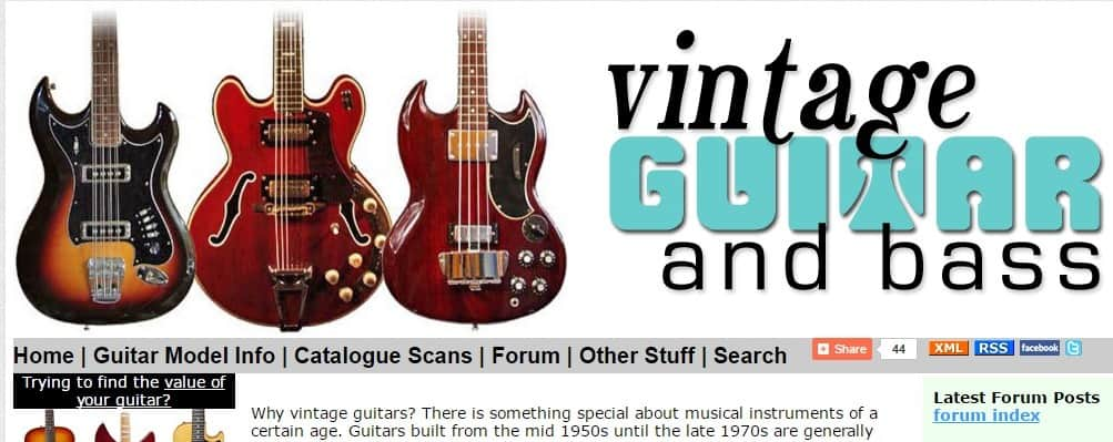 Vintage Guitar and Bass Websites