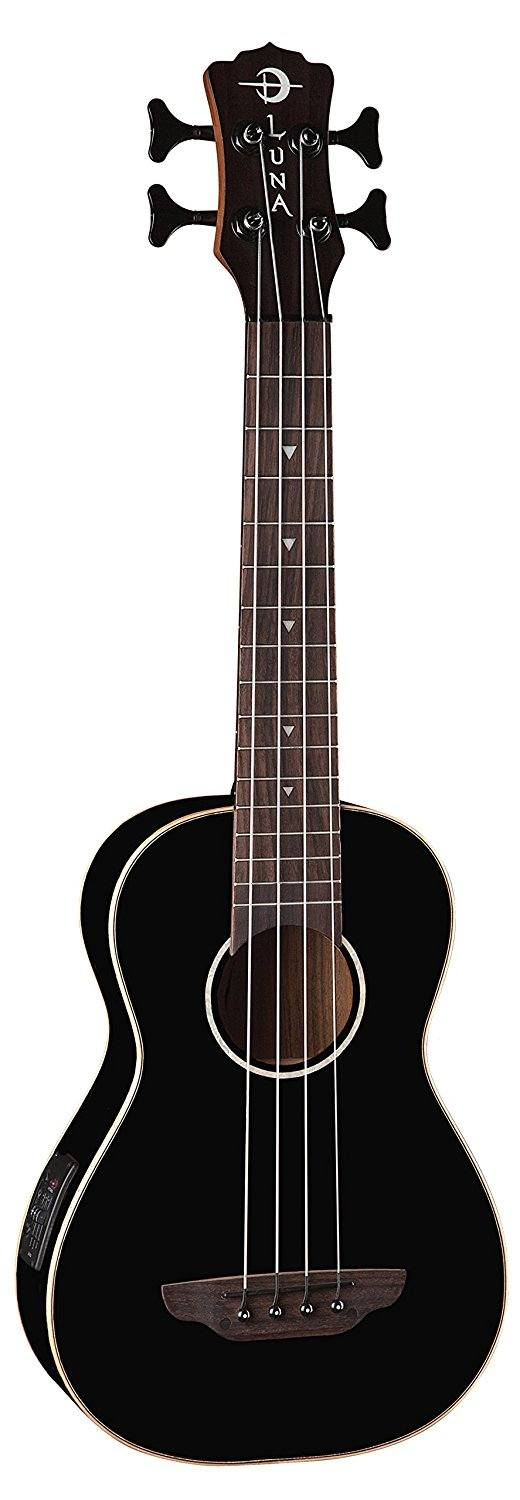 Luna Bass Ukulele - Black